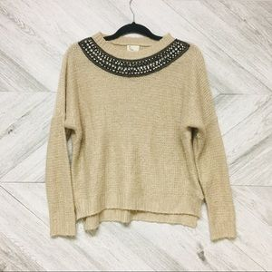 Anthropologie | Tan Sweater With Embellished Neck